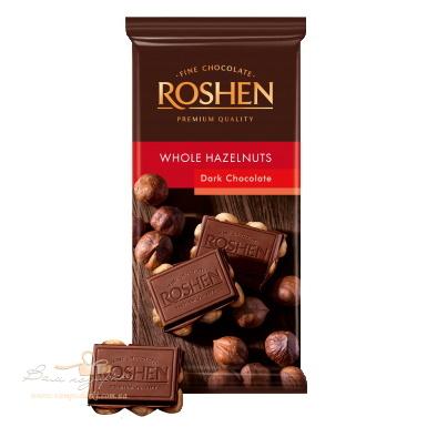 Шоколад «Roshen» екстрачорний з цілим лісовим горіхом,90г