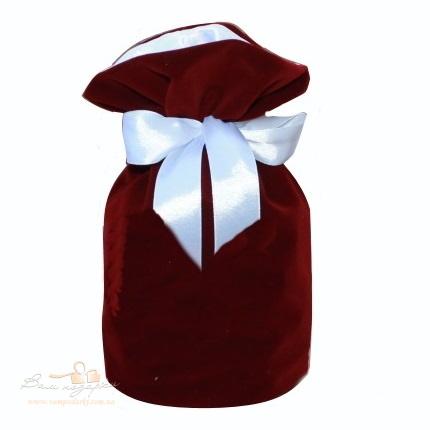 Подарунковий мішечок із замші бордовий кругле дно , З-9