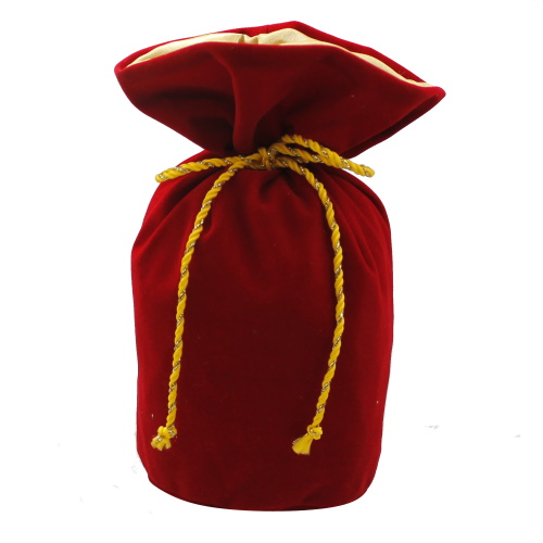 Подарочный мешочек из замши красно-золотой круглое дно, З-9
