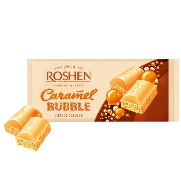 Шоколад «Roshen» пористий білий карамельний, 85г
