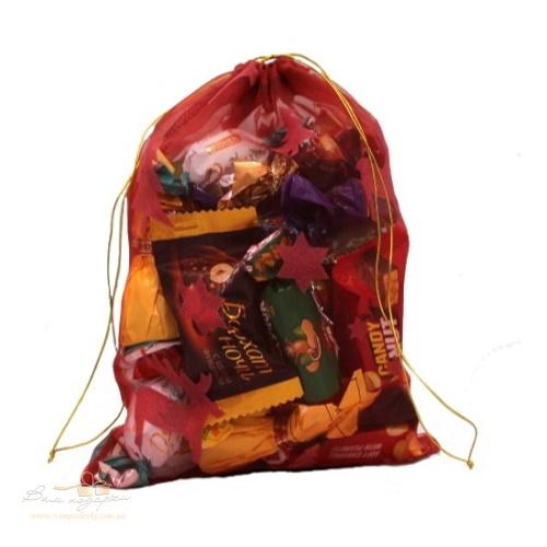 Подарочный мешочек из органзы красный, О-15