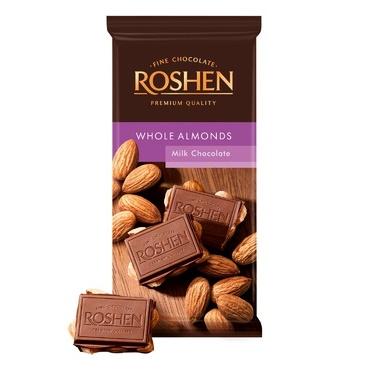 Шоколад «Roshen» молочный с целым миндалем, 90г