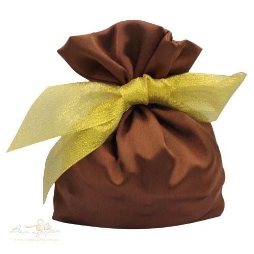 Подарочный мешочек из креп-сатина шоколадно-золотой, КС-1