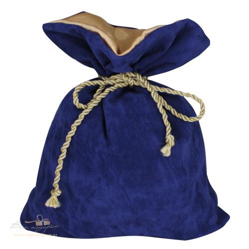 Подарунковий мішечок із замші синій З-6