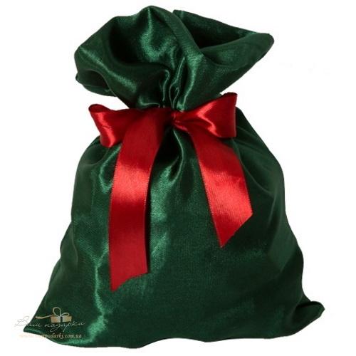 Подарочный мешочек из креп-сатина зеленый, КС-4