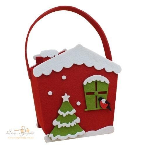 Новорічна сумка з фетру «Різдвяний будинок», 700г