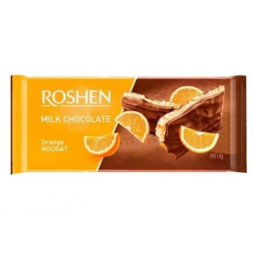 Шоколад «Roshen» молочний з апельсиновою нугою, 90г