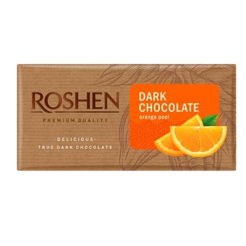 Шоколад «Roshen» чорний з апельсиновою цедрою, 90г