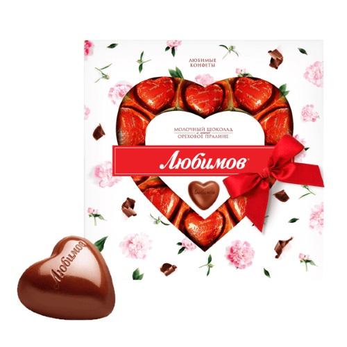 Цукерки в коробці Любимов в молочному шоколаді, 125г