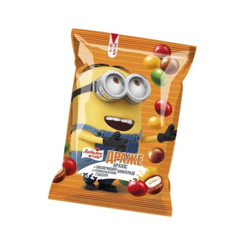 Любимов Kids драже Арахис в молочном шоколаде и цветной глазури, 50 г