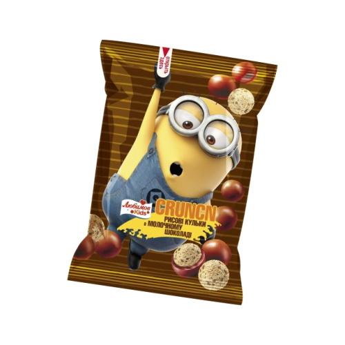 Любимов Kids драже Crunch рисові кульки в молочному шоколаді, 30г