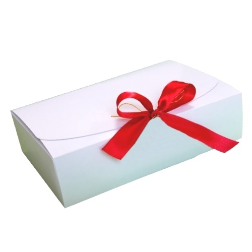 Подарочная  упаковка белая с красной лентой, 260*160*68