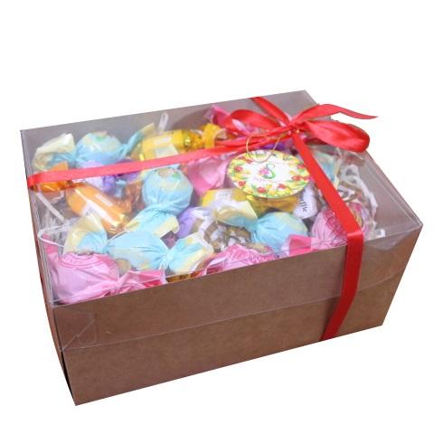 Подарочный набор крафт-коробка прозрачная 495г