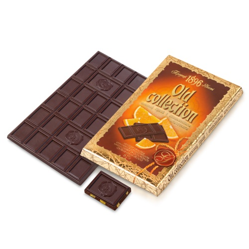 Шоколад ХБФ «Old collection» гіркий з апельсиновими шматочками, 200г