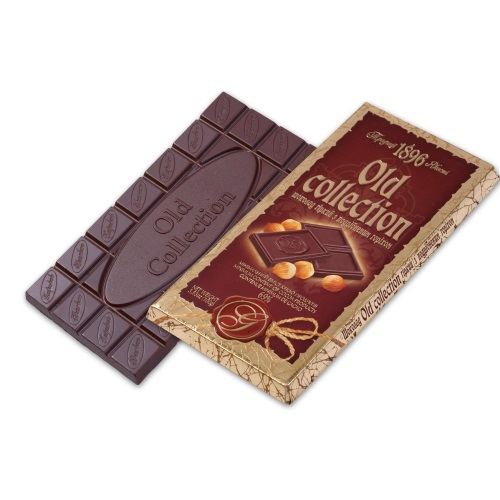 Шоколад ХБФ «Old collection» гіркий з подрібненим горіхом, 100г