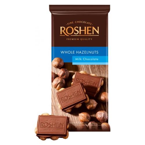 Шоколад «Roshen» молочний з цілим лісовим горіхом, 90г