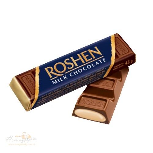 Батон «Roshen» молочно-шоколадный с начинкой крем-брюле, 43 г