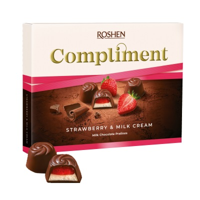 Цукерки в коробці Roshen «Compliment»  Strawberry & milk cream, 123г