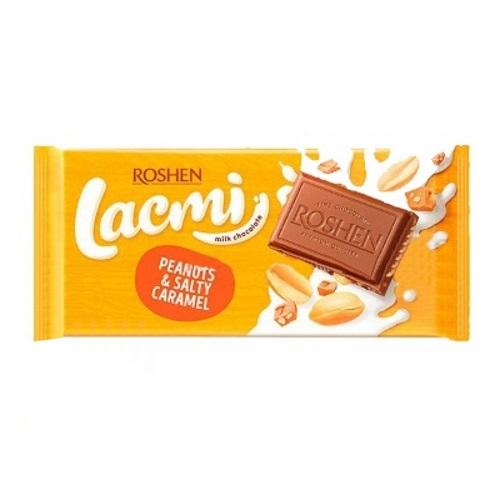 Шоколад «Roshen» Lacmi молочный с арахисом и кусочками соленой карамели, 90г