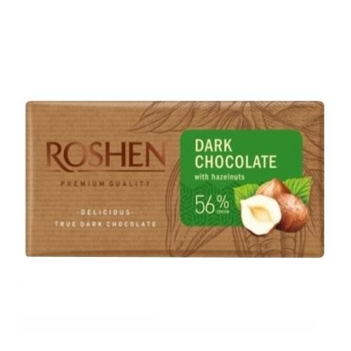 Шоколад «Roshen» чорний з подрібненим лісовим горіхом 56%, 90г