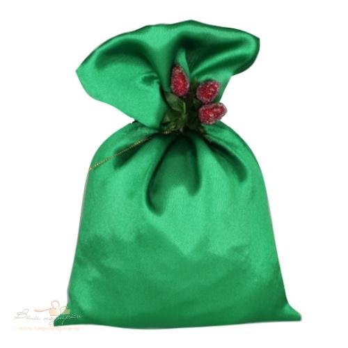 Подарочный мешочек из креп-сатина зеленый, КС-3