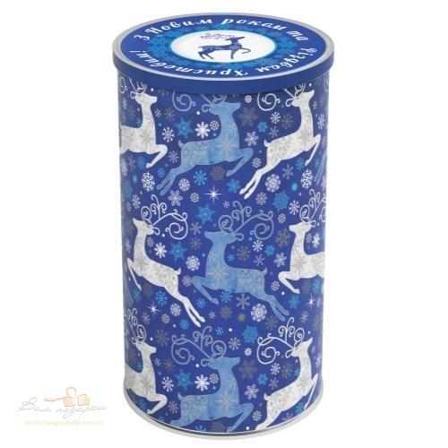Тубус пластиковий «Олені» сині, 22см