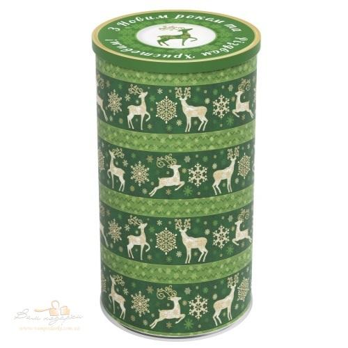 Тубус пластиковий «Олені» зелені, 22см