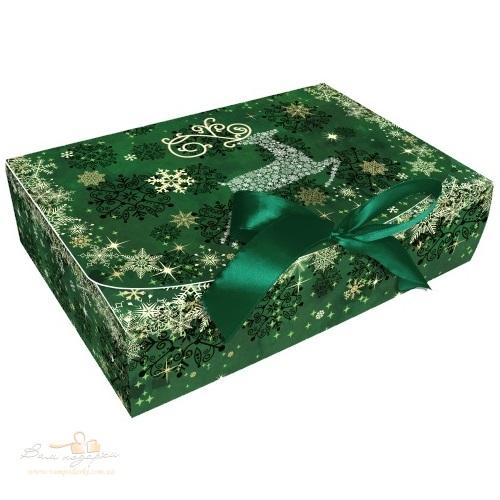 Новогодняя  упаковка «Олени» зеленая, 260*160*67, 1000г