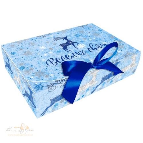 Новорічна упаковка «Олені» голуба, 260*160*67