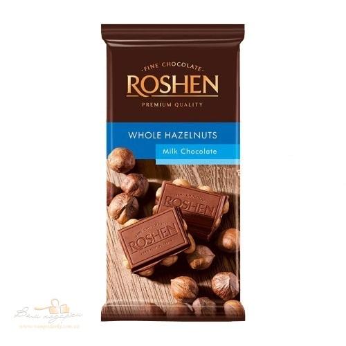 Шоколад молочный с целым лесным орехом Roshen, 90г