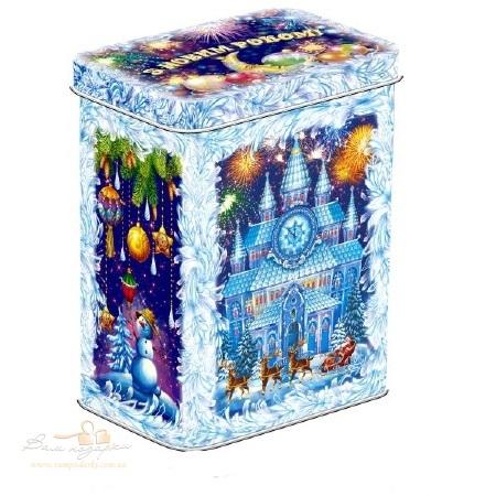 Новорічна жерстяна скринька «Казковий замок», 1000г
