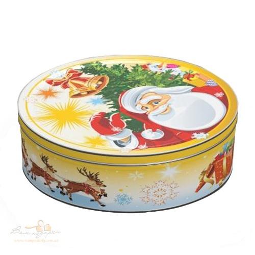 Новогодняя жестяная банка круглая «Дед Мороз» желтая, 600г