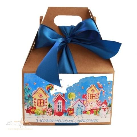 Подарочная упаковка из крафта Акварель синяя 185*90*240, 700г