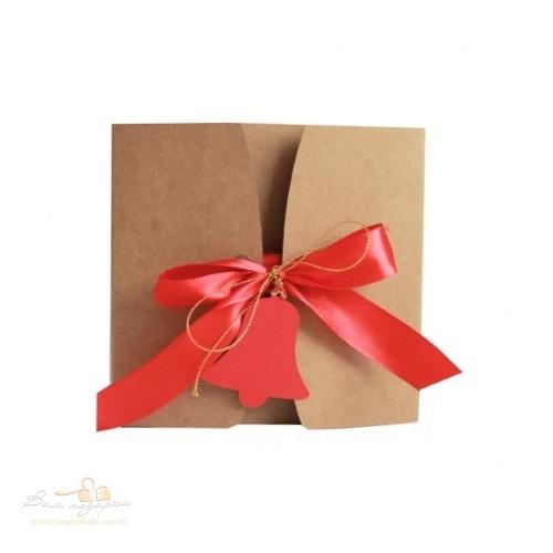 Подарочная коробка из крафта Колокольчик квадрат, 600г