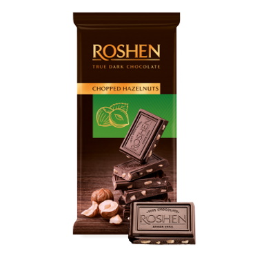 Шоколад «Roshen» Chopped hazelnuts з подрібненим лісовим горіхом, 85г