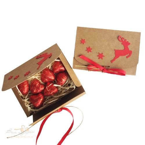 Подарочная коробка из крафта с Оленем, 130*85*35, 100г