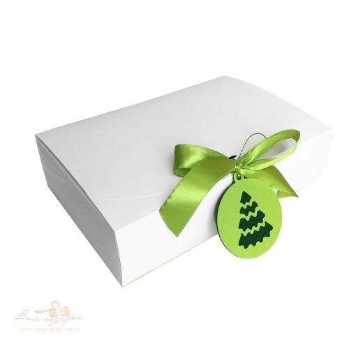 Подарункова упаковка біла з підвіскою, 260*160*67