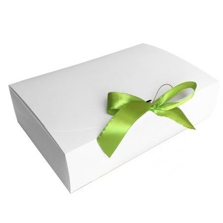 Подарункова упаковка біла з салатовою стрічкою, 260*160*67