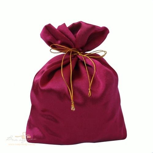 Подарочный мешочек из креп-сатина бордовый, КС-1