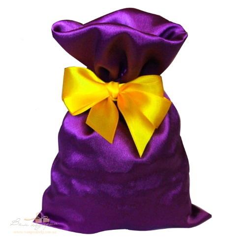 Подарочный мешочек из креп-сатина фиолетовый. КС-2
