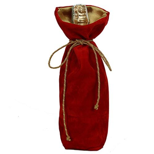 Подарочный мешочек для шампанского из замши красный