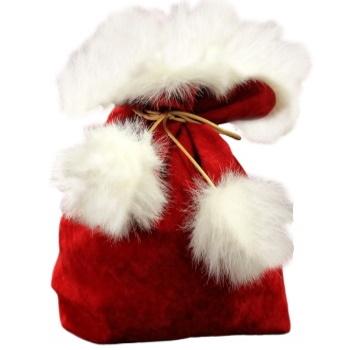 Новогодний мешочек с мехом красный