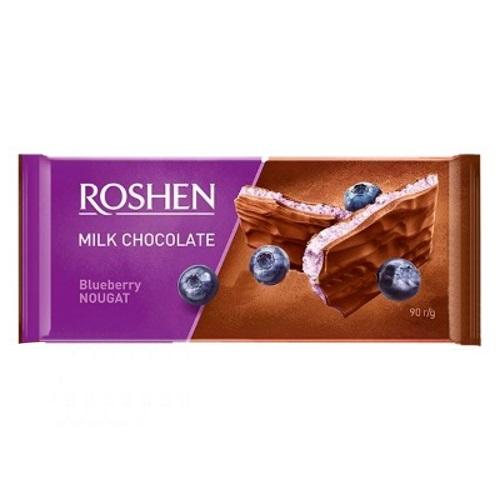 Шоколад «Roshen» молочний з чорничною нугою, 90г