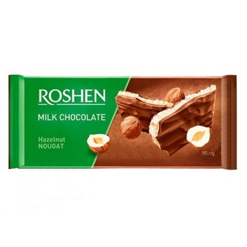 Шоколад «Roshen» молочный с ореховой нугой, 90г