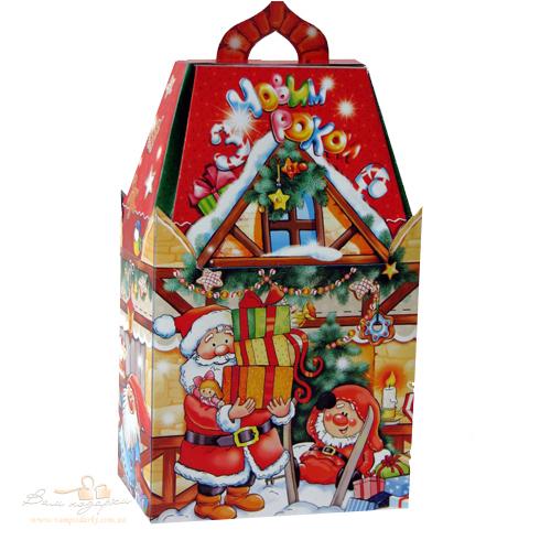 Новогодняя упаковка домик терморезка для лент купить в москве